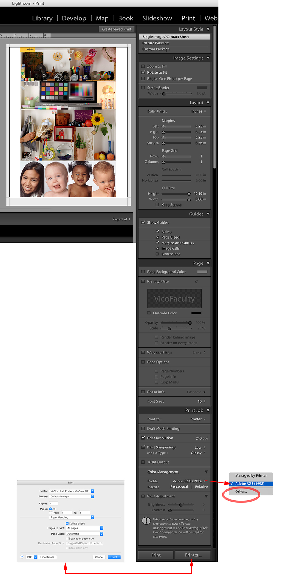 Printing from Lightroom to the VisCom RIP