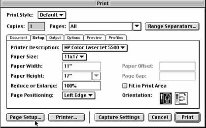 Printing from QuarkXPress 4 1 to the HP 5500 Color Laser Printer